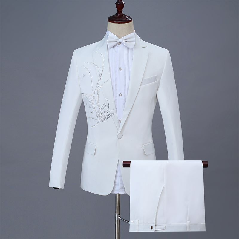 Adult Male Suit Costume Wedding MC Host Evening Party Prom Stage Outfit Bar Singer Chorus Studio Performance White Crystal Suits