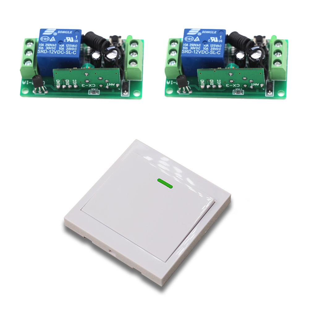 New DC9V 12V 24V  1CH Remote Control Switch 2 Receiver and Wall Transmitter Learning Code Momentary Toggle Latched Adjusted 3v 3 7v 5v rf remote control switch mini receiver mini 7 transmitter learning code momentary toggle latched adjustable