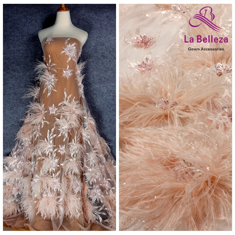 La Belleza New 1 yard light pink off white heavy 3D flowers feather beaded crystal wedding