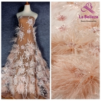 La Belleza New 1 yard light pink/off white heavy 3D flowers feather beaded crystal wedding/evening dress lace fabric