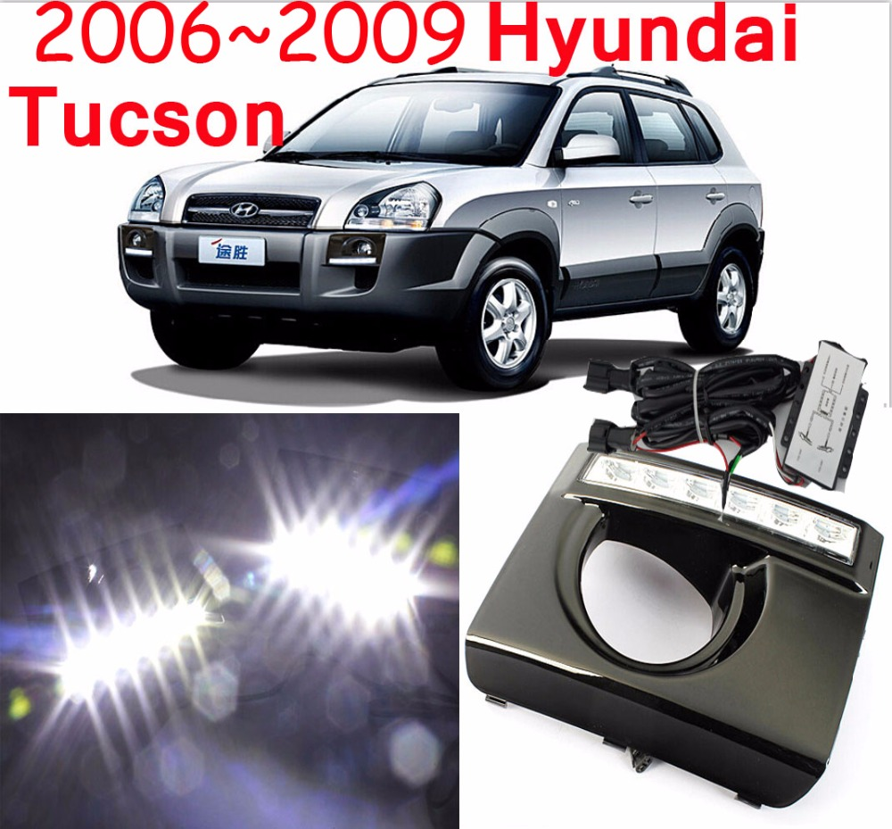 Car styling Tucson daytime light 2005 2009 chrome LED Free ship 2pcs car detector Tucson fog