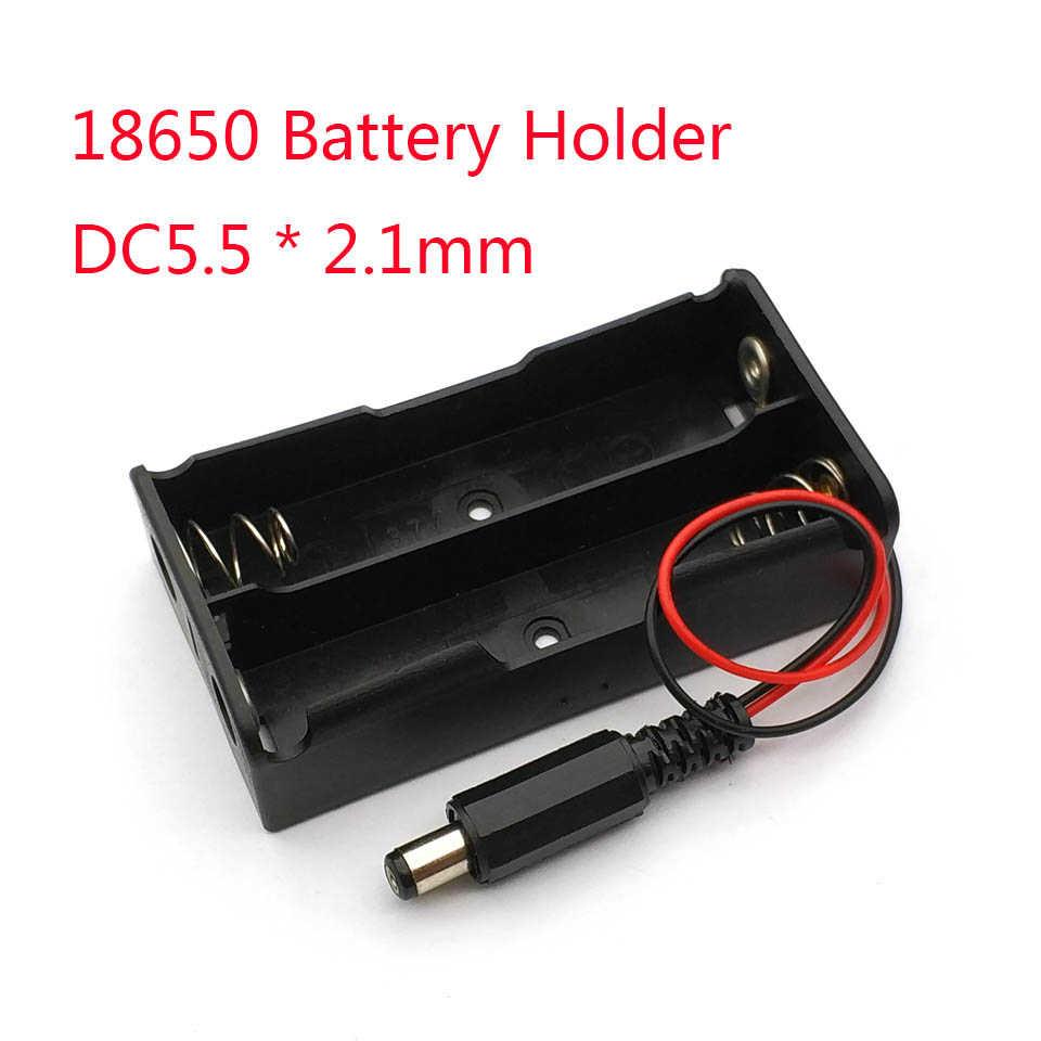 1 قطعة جديد قوة البنك 18650 بطارية حامل البلاستيك حامل البطارية صندوق تخزين الحال بالنسبة 2x18650 مع DC5.5 * 2.1 مللي متر قابس طاقة