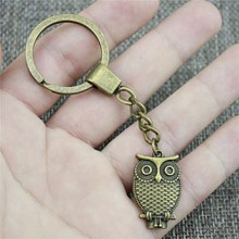 New Vintage Men Jewelry Keychain Diy Metal Holder Chain Owl 28x18mm Antique Bronze Pendant Gift