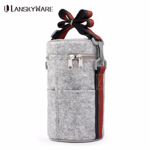 LANSKYWARE Portable Thermal Lunch Bag Solid Felt Box Bags Tote With Tinfoil For Women Kids Picnic Camping Round