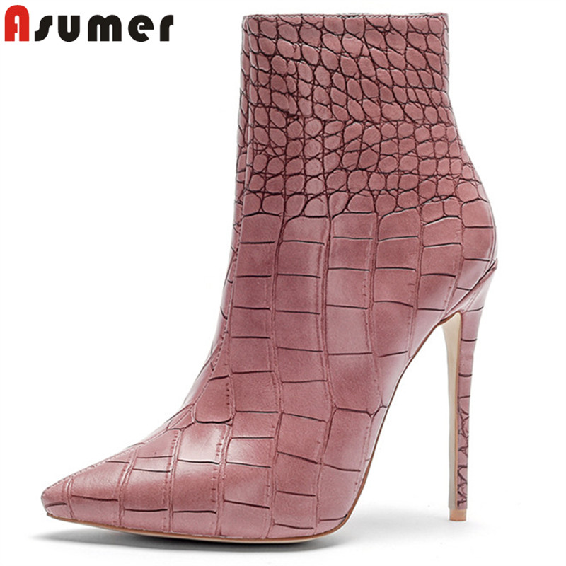 ASUMER plus size  33-45 fashion autumn winter boots pointed toe high quality pu leather botos thin high heels ankle boots women ASUMER plus size  33-45 fashion autumn winter boots pointed toe high quality pu leather botos thin high heels ankle boots women