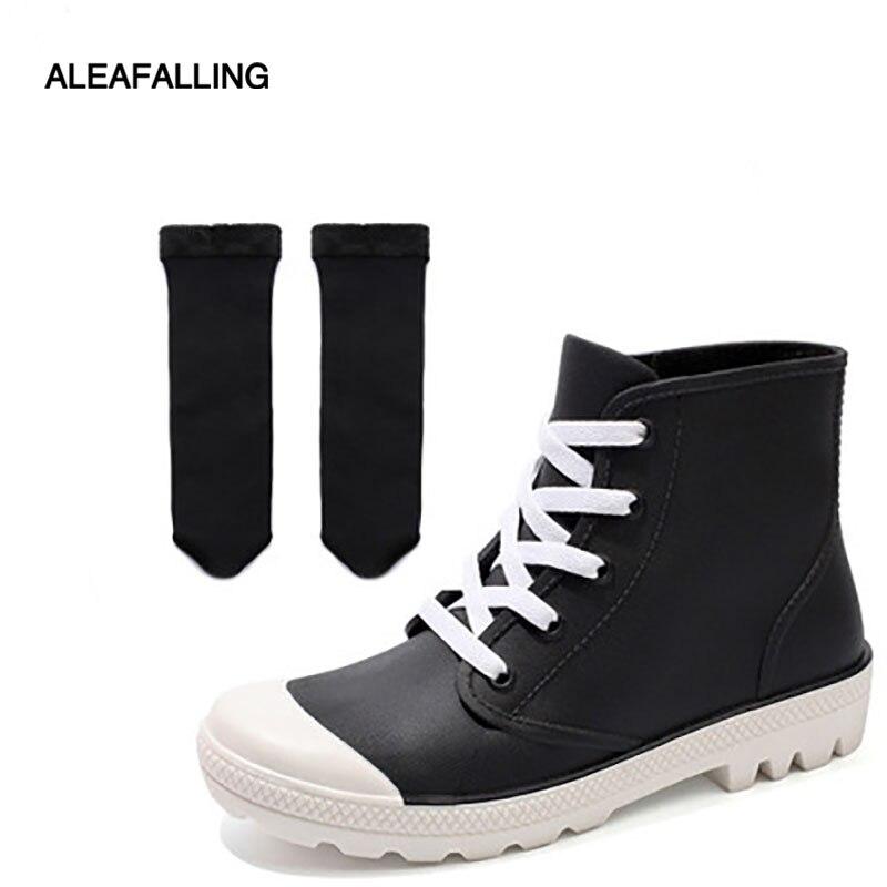 Aleafalling klassische regen stiefel winter wasserdichte schuhe frau wasser gummi lace up ankle reife stiefel schnee botas w019