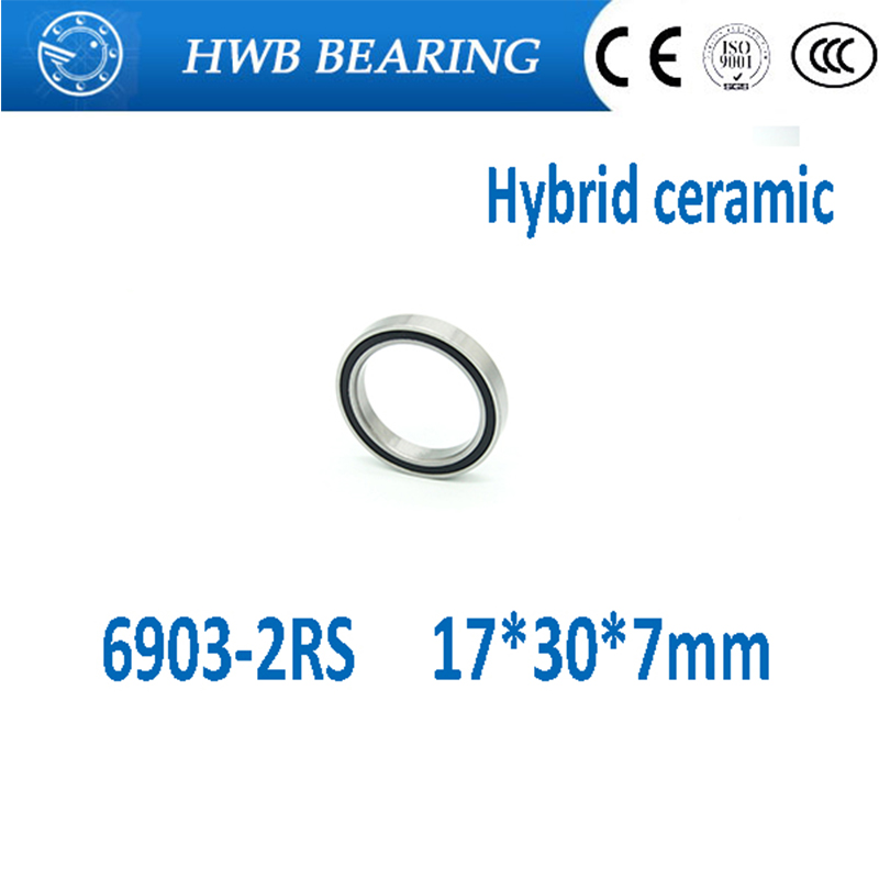 Free shipping 6903-2RS 6903 2RS 61903 17*30*7mm hybrid ceramic deep groove ball bearing 17x30x7mm for bicycle part 6903RS free shipping 6903 rs full zro2 p5 abec5 ceramic deep groove ball bearing 17x30x7mm 61903 bike bearing