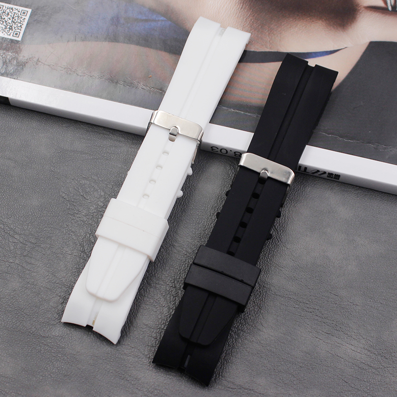 Buy Watch accessories curved silicone strap pin buckle 22 mm outdoor sports waterproof men and women watch strap for only 4.89 USD