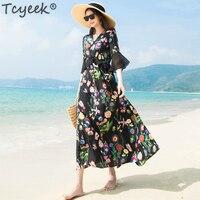 Женское шелковое летнее платье длинное черное с цветочным принтом элегантное платье Тонкий Высокое качество платья макси Vestidos Verano 2019 WW021