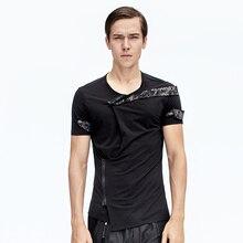 2017 new design men's clothing Independent men's clothing summer patchwork unique zipper short-sleeve T-shirtThe black shirt