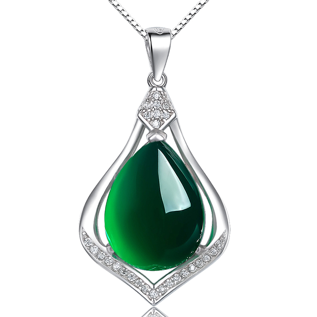 nature Semi-precious stones chalcedony necklace 925 Sterling silver green Pendant short chain green crystal jade women jewelry