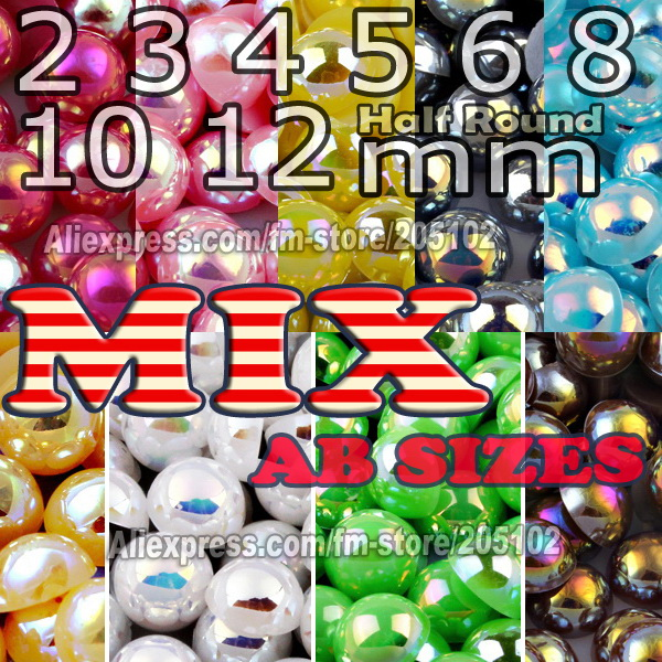 Mix Sizes AB Color Half Round Flat back bead 2 3 4 5 6 8 10mm imitation ABS Pearls for Fashion DIY Nails jewelry