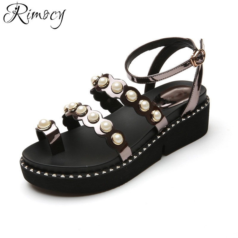 Rimocy pearl toe patent leather women platform gladiator sandals fashion summer ankle wrap casual shoes woman wedges sandalias phyanic 2017 gladiator sandals gold silver shoes woman summer platform wedges glitters creepers casual women shoes phy3323