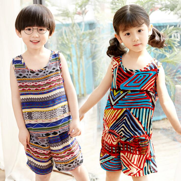 2Pcs Boys Girls Summer set 2019 New Fashion Kids Clothes Clothing Suit Bohemia T shirt Shorts Children Outfits For 2-10T(China)