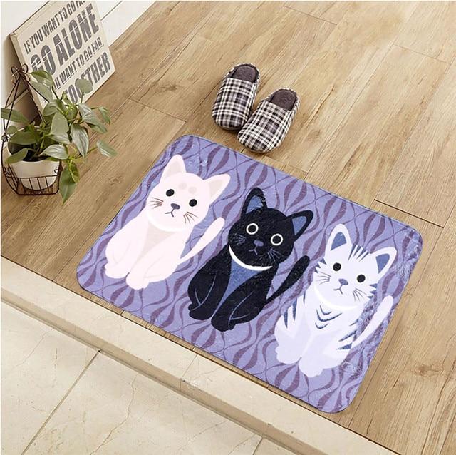 40*60CM Three Cats Doormat Non-woven Antiskid Carpet Living Room/Kitchen/Bedroom Carpets Doormats Cat Floor Mat