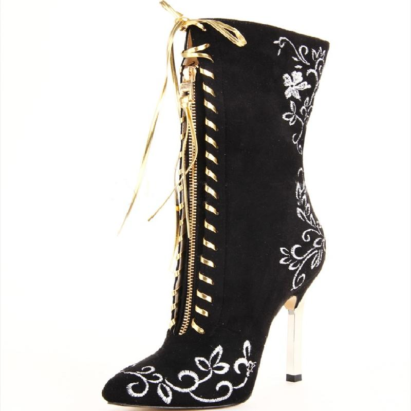 Womens Golden Embroidery Floral Over Knee Thigh Boots Metal Heel Pointed Toe Ankle Bootie Shoes Plus Size Black Red Blue plus size floral embroidery dress