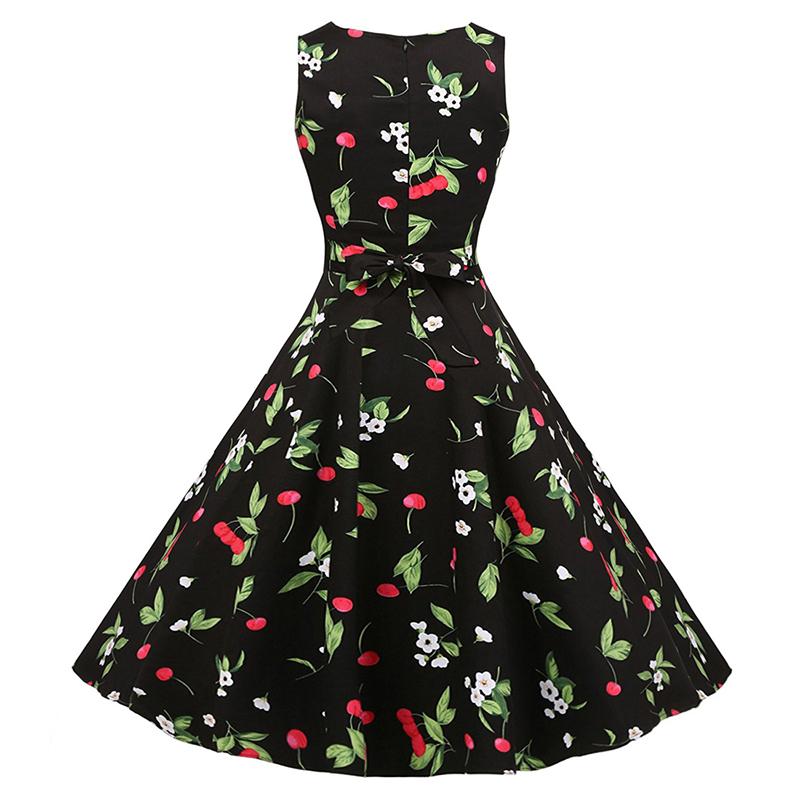 Kostlish Cotton Summer Dress Women 2017 Sleeveless Tunic 50s Vintage Dress Belt Elegant Print Rockabilly Party Dresses Sundress (80)