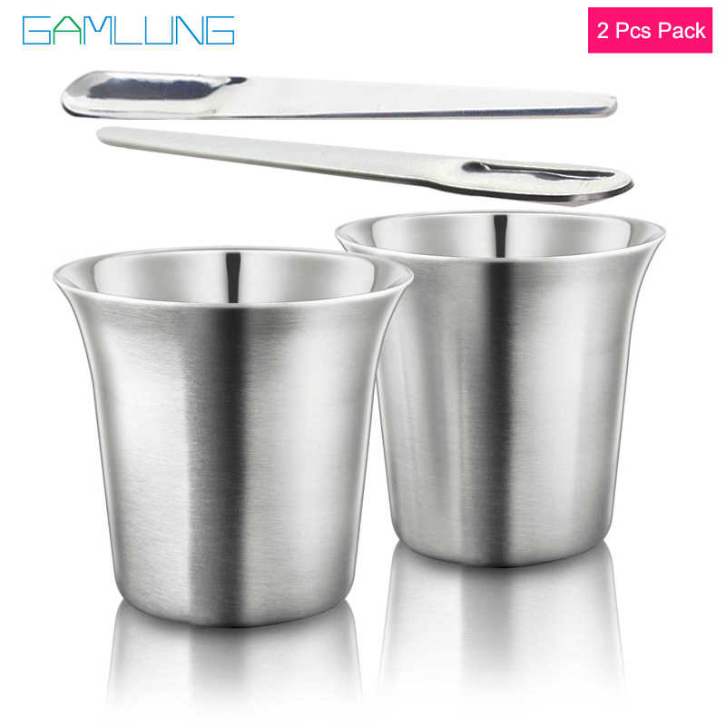 GAMLUNG Pixie Nespresso Espresso Stainless Steel coffee cup coffee cup lungo coffee mug 2 pcs pack with 1 Stirrer 170ml
