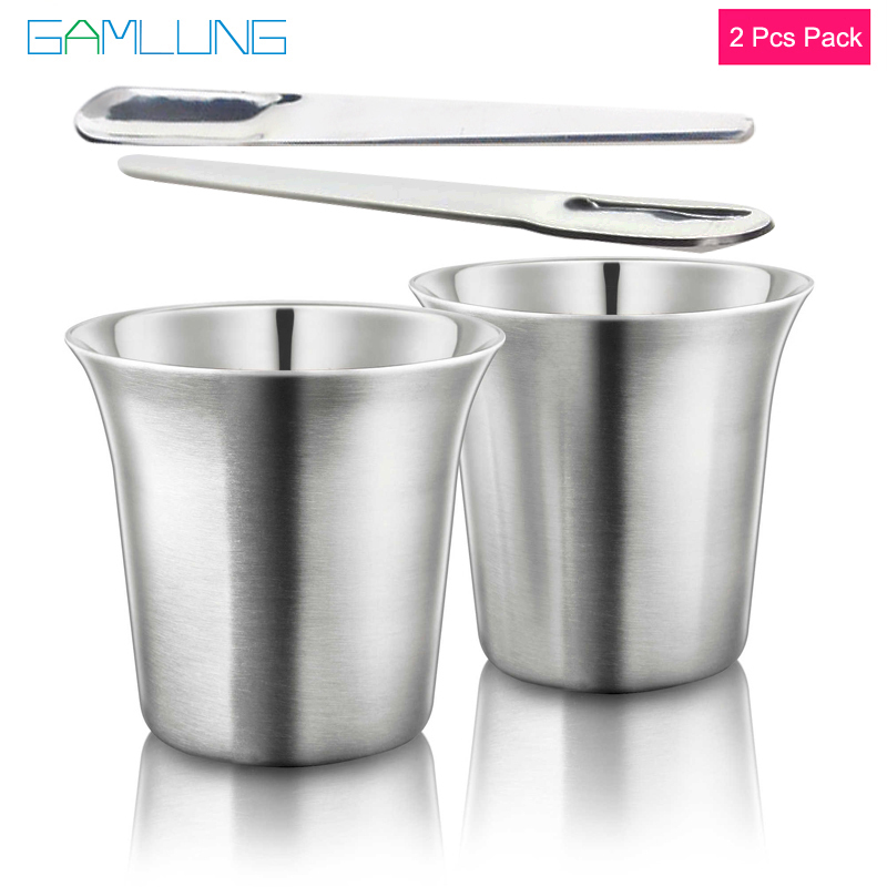 GAMLUNG Pixie Nespresso Espresso Stainless Steel coffee cup coffee cup lungo coffee mug 2 pcs pack with 1 Stirrer cup