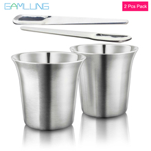 GAMLUNG Pixie Nespresso Espresso Stainless Steel coffee cup lungo mug 2 pcs pack with 1 Stirrer
