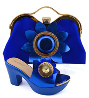 Shoes and bag matching set in italy design for african aso ebi lady size 38 to 42 high heel royal blue shoe bag set SB8198 8