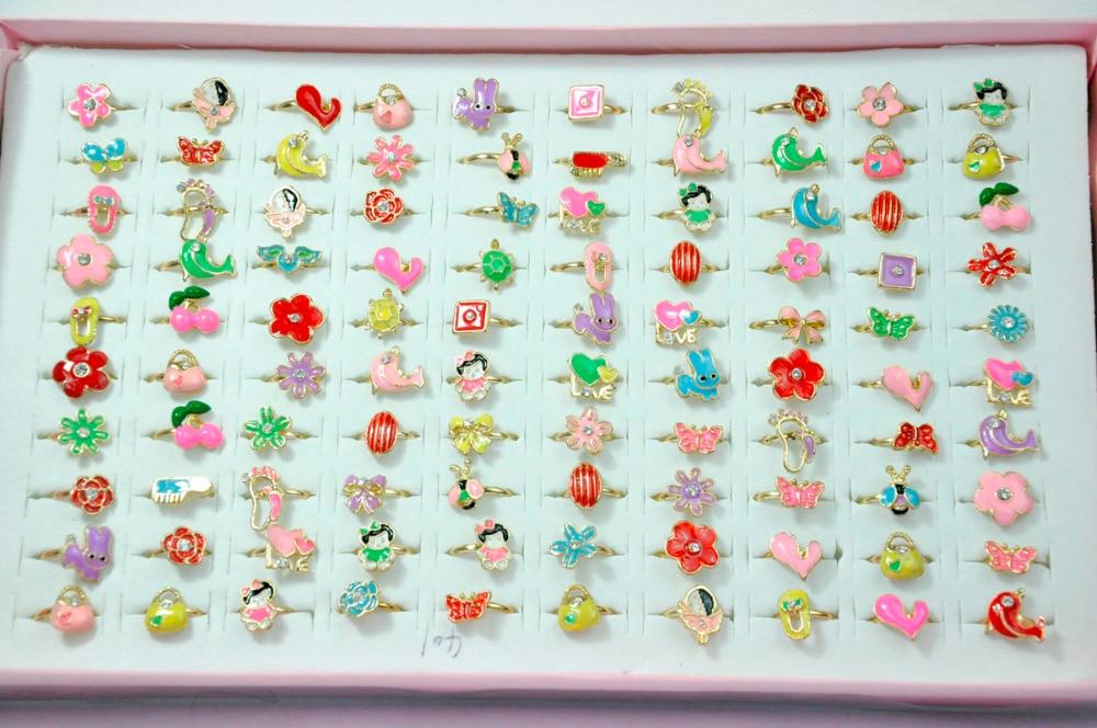200Pcs Fashion Jewelry Cartoon Cute Anime Child Golden Rings Lots For Girls Children Jewelry Bulk Packs LR4025