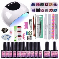 Nail Set 24w UV Lamp Dryer With 10pcs Nail Gel Polish Soak Off Manicure Products Lasting Gel Nail Polish Kit For Nail Art Tools