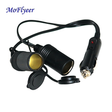 MoFlyeer 12V Auto Cigarette Lighter Extension Cable Cord Adapter 0ne to Two Ways Double Female Power Socket qfn44 mlf44 wlcsp44 to dip44 double board programming socket ic550 0444 010 g pitch 0 5mm ic size 7x7mm adapter smt test socket