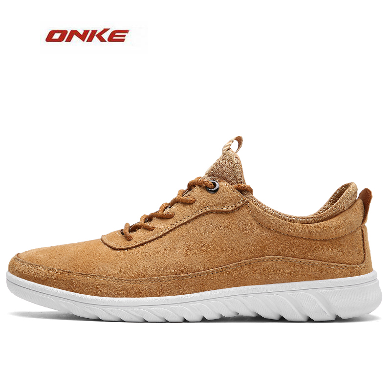 2017 ONKE New Arrival Men City Jogging Daily Lifestyle Sneaker Solid Colors Brown Color Male Spring Autumn Footwear On Discount