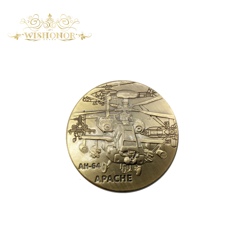 Free Shipping United State Army Metal Coin AH-64 APACHE Coin Novelty Challenge Coin for Collection Non-currency Coins