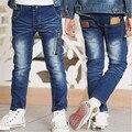 2016 весной новый зима молнии прилив большой мальчик джинсы осень детская одежда мода детей мальчиков и девочек эластичность
