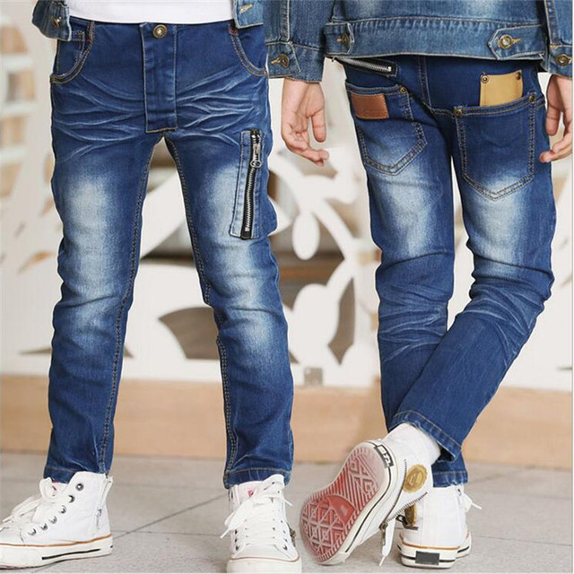 2016 Spring new winter zipper tide big virgin boy jeans Autumn children's clothing Fashion children boys and girls Elasticity