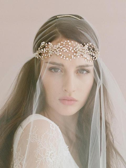 Crystal Head Chain With Veil Bride Headband Wedding Hair Accessories Flower Headwear Jewelry Rhinestone Headpiece