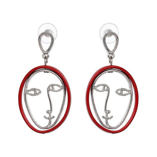 Qiaose Fashion Jewelry Face Shaped Dangle Drop Earrings for Women Maxi  Statement Earings Accessories ef3b5ef14e24