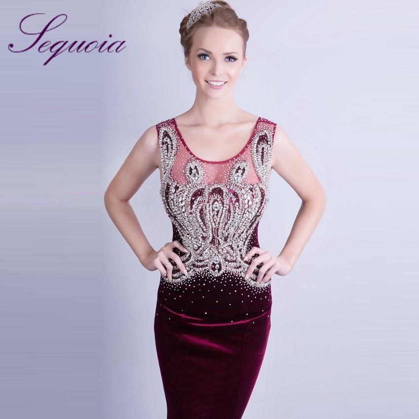 Elegant Sleeveless Women s Sparkling Crystal Beaded Long Velvet Evening  Gowns 2015 Fuchsia Dresses mo5782-in Evening Dresses from Weddings   Events  on ... f9d855605f3c