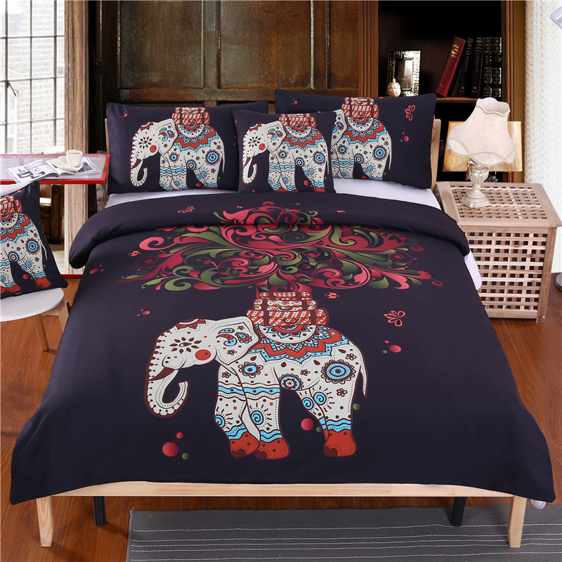 4 pieces bohemian bedding set elephant tree black printed boho duvet cover set soft bedspread twin full queen kingin bedding sets from home