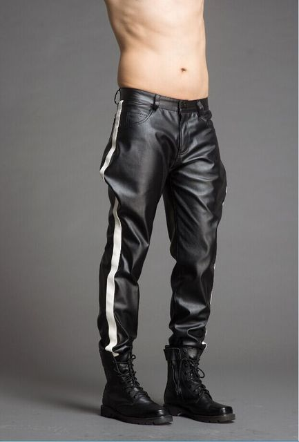 High-end custom-made men's color pantaloons leather pants fashion personality.      29-37!! 1