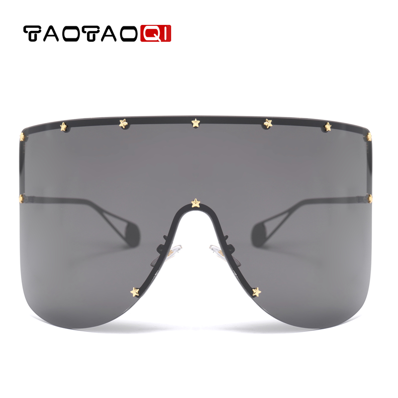 TAOTAOQI Brand Oversized Metal Sunglasses Women Men Designer Luxury Rivet Sun Glasses Female UV400 Vintage Eyewear Oculos