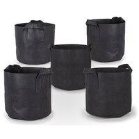 ABLA 5 Pcs/Lot Grow Bags Aeration Black Non Woven Fabric Pots with Handles Planting Bag Seedling Flowerpot