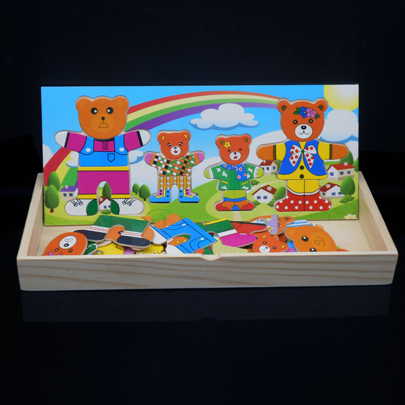 Frete grátis 4 PCS mudança urso roupas enigma de Madeira toy Kids set, quebra-cabeças de madeira brinquedos educativos, vestido Mudança de puzzle brinquedo