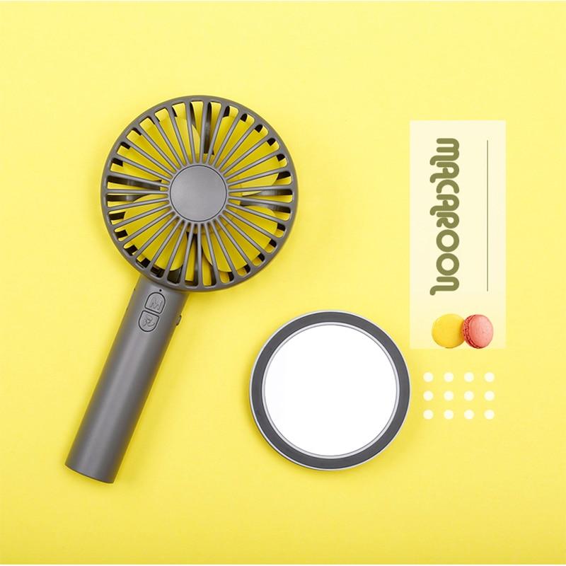 2019 Nova USB Mini Ventilador Portátil 2000 mAh Macarons Recarregável Handy Handheld Ventilador Fã de Banda Desenhada Ventilador com Espelho para Viajar