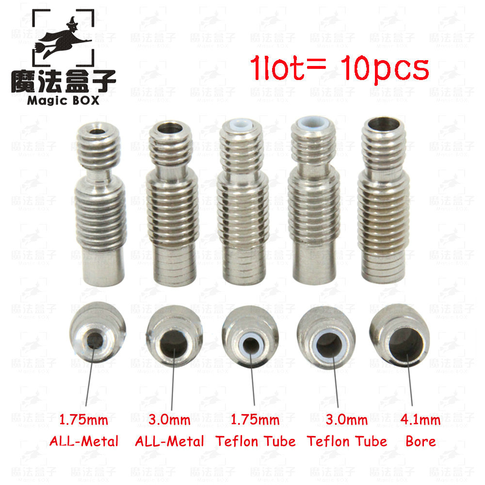 10Pcs/lot Extruder 3D Printer parts V6 Hotend Nozzle Throat Heat Break With PTFE / All Metal Pipe M6 M7 For 1.75/3.0mm Filament 10pcs lot high quality 3d printer spare parts m6 26 3d printer e3dv5 nozzle throat with teflon tube