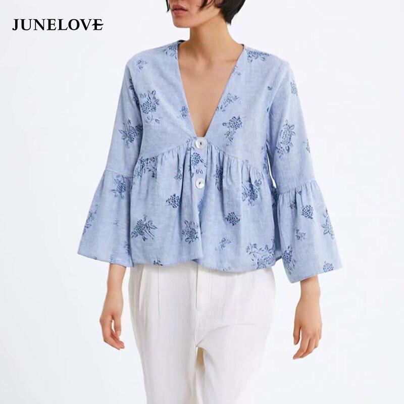 JuneLove Mulheres Primavera Com Decote Em V Blusa Solta Camisas Do Vintage Longo da Luva do Alargamento Feminino Blusa Casual Imprimir Floral Blusa Senhora Tops