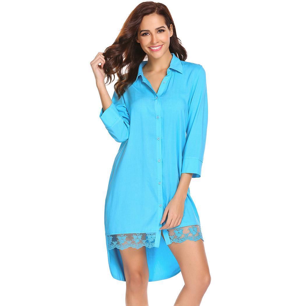 Ekouaer Women   Sleepshirt     Nightgown   Dress 3/4 Sleeve Lace Trim High Low Button Down Nightdress Lady Chemise Nightwear