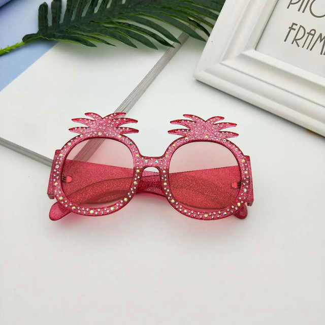 MINCL/New Hot Hawaiian Beach Sunglasses Pineapple Goggles Hen Party Evening Party Dress Up Party Crystal Sunglasses With Box LXL 3