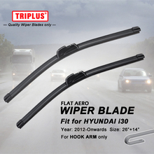 Wiper Blade for Hyundai i30 (2012-Onwards) 1set 26″+14″,Flat Aero Beam Windscreen Wiper Frameless Soft Wiper Blades