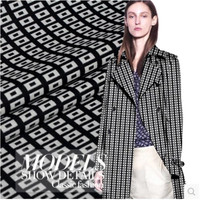 Black and white box wool worsted yarn dyed winter coat windbreaker clothing fabric 320grams per meter