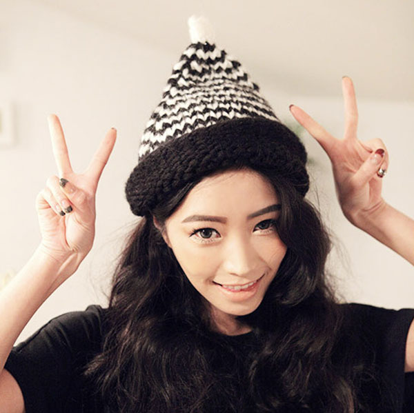 Women Girl Winter Korean Style Warmer Hat Casual Pointy Unisex Knitted Wool Hats
