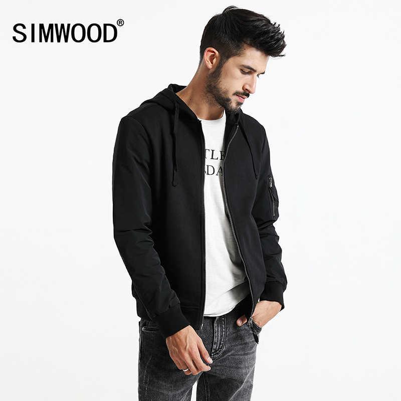SIMWOOD 2017 Otoño Invierno chaqueta negra nueva moda marca ropa rompevientos hombres chaqueta bomber abrigos de algodón hombres JK017002