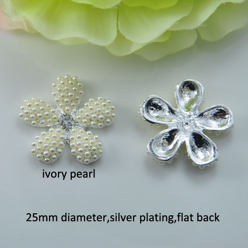 25mm Metal Rhinestone Button Flower Shape,all Pearl,silver Or Light Rose Gold Plating,flat Back,100pcs/lot j0550